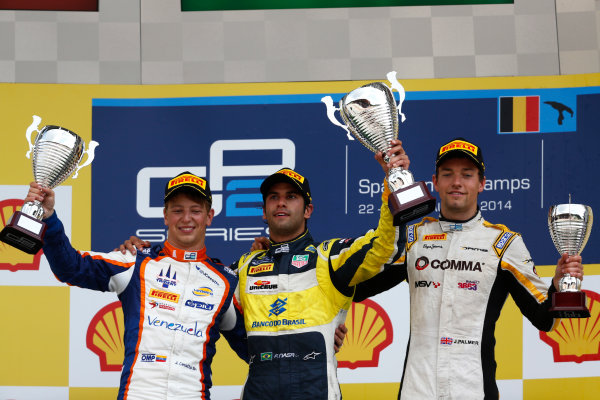 2014 GP2 Series Round 8. Spa-Francorchamps, Spa, Belgium. Sunday 24 August 2014. Felipe Nasr (BRA, Carlin), Johnny Cecotto (VEN, Trident) & Jolyon Palmer (GBR, DAMS)  Photo: Sam Bloxham/GP2 Series Media Service. ref: Digital Image _SBL7737
