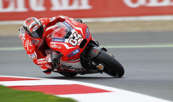 2014 MotoGP Championship  British Grand Prix.  Silverstone, England. 29th - 30st August 2014.  Andrea Dovizioso, Ducati.  Ref: _W1_5399. World copyright: Kevin Wood/LAT Photographic