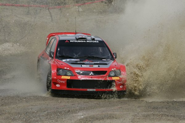2005 FIA World Rally Championship Round 3, Mexico Rally. 10th - 13th March 2005. Harri Rovanpera,(Mitsubishi Lancer WRC), 5th position, action. World Copyright: McKlein/LAT Photographic. ref: Digital Image Only.