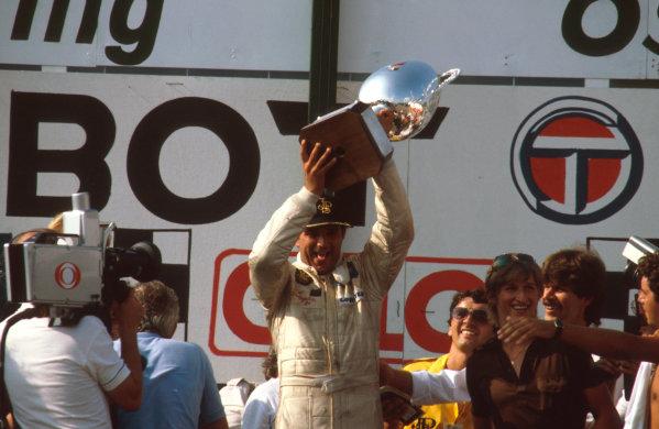 Osterreichring, Austria.13-15 August 1982.Elio de Angelis (Lotus Ford) 1st position on the podium.Ref-82 AUT 04.World Copyright - LAT Photographic