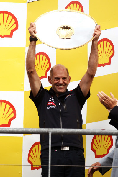 Adrian Newey (GBR) Red Bull Racing Chief Technical Director on the podium.  Formula One World Championship, Rd 12, Belgian Grand Prix, Race, Spa-Francorchamps, Belgium, Sunday 28 August 2011.