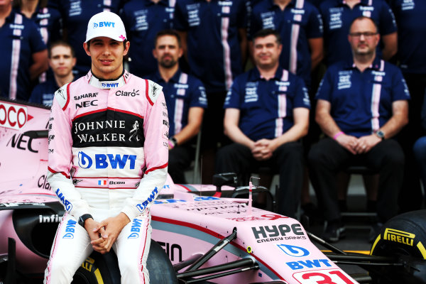 Autodromo Hermanos Rodriguez, Mexico City, Mexico. Saturday 28 October 2017. Esteban Ocon (FRA) Sahara Force India F1 Team at a team photograph. World Copyright: James Moy Photography/Force India  ref: Digital Image jm1728oc584