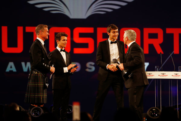 2017 Autosport Awards Grosvenor House Hotel, Park Lane, London. Sunday 3 December 2017. Lando Norris and George Russell present an award to Derek Warwick. World Copyright: Joe Portlock/LAT Images Ref: Digital Image _o3i6820