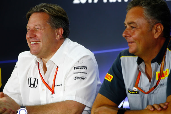 Yas Marina Circuit, Abu Dhabi, United Arab Emirates. Friday 24 November 2017. Zak Brown, Executive Director, McLaren Technology Group, and Mario Isola, Racing Manager, Pirelli Motorsport, in the press conference. World Copyright: Andy Hone/LAT Images  ref: Digital Image _ONZ9403
