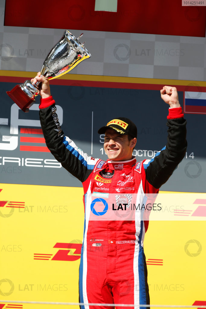 2014 GP3 Series. Round 8.   Sochi Autodrom, Sochi, Russia. Sunday Race 2 Sunday 12 October 2014. Patric Niederhauser (SUI, Arden International) on the podium. Photo: Glenn Dunbar/GP3 Series Media Service. ref: Digital Image _89P2976
