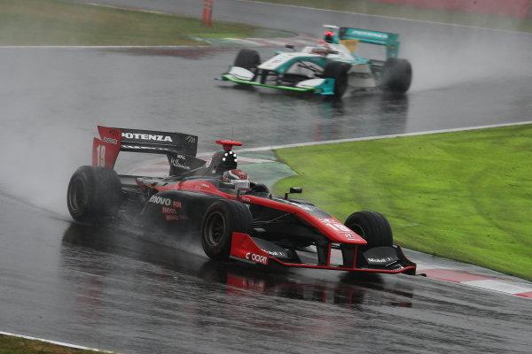 2014 Super Formula Series. Suzuka, Japan. 9th - 10th November 2014. Rd 7. Race 1 - Winner Joao Paulo de Oliveira ( #19 Lenovo TEAM IMPUL SF14 ) action World Copyright: Yasushi Ishihara / LAT Photographic. Ref:  2014_SF_Rd7_004.JPG