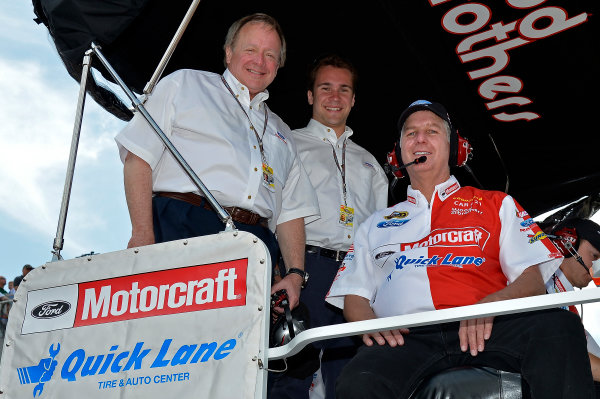 June14-16, 2013, Brooklyn, Michigan USA Edsel Ford II and his son with Len Wood. © 2013, Brian Czobat LAT Photo USA .