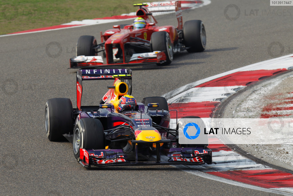 Shanghai International Circuit, Shanghai, China Sunday 14th April 2013 Mark Webber, Red Bull RB9 Renault, leads Felipe Massa, Ferrari F138.  World Copyright: Alastair Staley/LAT Photographic ref: Digital Image _A8C9203
