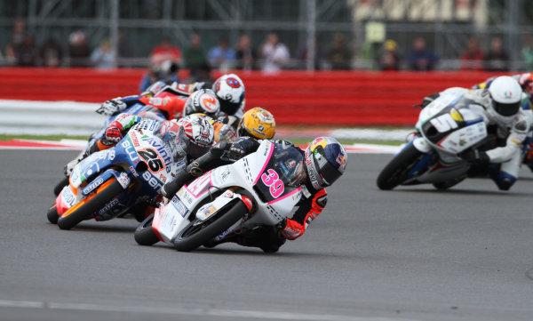 British Grand Prix.  Silverstone, England. 15th-17th June 2012.  Moto3. Luis Salom, Kalex KTM, leads Maverick Vinales, FTR Honda.  World Copyright: Kevin Wood/LAT Photographic.  ref: Digital Image IMG_8748a