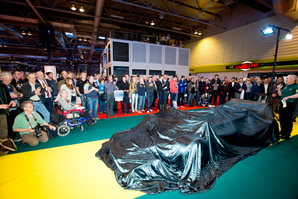 Autosport International Exhibition.  National Exhibition Centre, Birmingham, UK. Thursday 14 January 2016.  Classic Team Lotus prepare for an unveiling. World Copyright: Sam Bloxham/LAT Photographic. ref: Digital Image _SBL6134