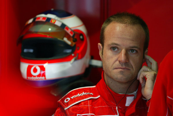 2004 British Grand Prix - Friday Practice,Silverstone, Britain. 09th July 2004 Rubens Barrichello, Ferrari F2004, portrait.World Copyright: Steve Etherington/LAT Photographic ref: Digital Image Only