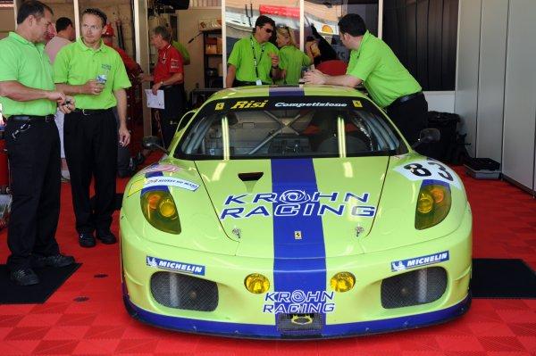 2008 Le Mans 24 Hours, Le Mans, France9th-15th JuneKrohn Racing/Rizi Competizone Ferrari F430 GTC in garage.Worldwide copyright: Dave Friedman/LAT PhotographicRef; Digital Image Only