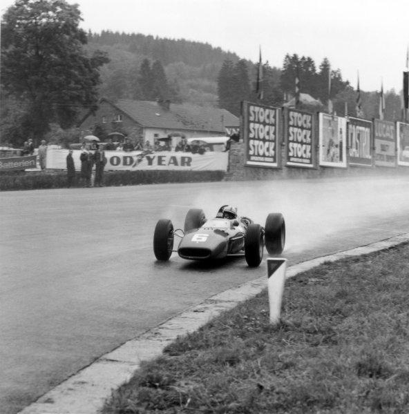 1966 Belgian Grand Prix.Spa-Francorchamps, Belgium. 12 June 1966.John Surtees, Ferrari 312, 1st position, action.World Copyright: LAT PhotographicRef: 34847