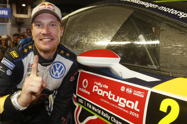 Rally winner Jari-Matti Latvala (FIN) Volkswagen Polo R WRC celebrates at World Rally Championship, Rd5, Rally Portugal, Day Three, Matosinhos, Portugal, 24 May 2015.