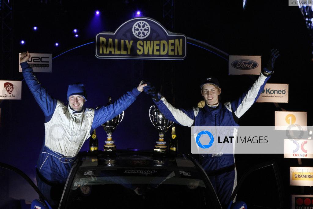 Round 01-Rally Sweden. 10th-13th February 2011.Martin Semerad, Michal Ernst, Mitsubishi PWRC, Podium.Worldwide Copyright: McKlein/LAT