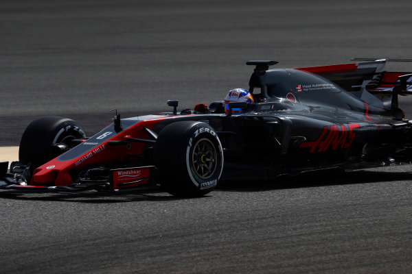 Bahrain International Circuit, Sakhir, Bahrain.  Tuesday 18 April 2017. Romain Grosjean, Haas VF-17. World Copyright: Glenn Dunbar/LAT Images ref: Digital Image _X4I1941