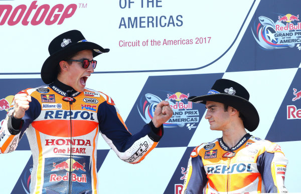 2017 MotoGP Championship - Round 3 Circuit of the Americas, Austin, Texas, USA Sunday 23 April 2017 Podium: race winner Marc Marquez, Repsol Honda Team, third place Dani Pedrosa, Repsol Honda Team World Copyright: Gold and Goose Photography/LAT Images ref: Digital Image MotoGP-Post-500-3039