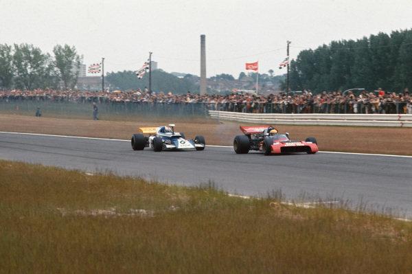 1972 Belgian Grand Prix.  Nivelles-Baulers, Belgium. 2-4th June 1972.  Nanni Galli, Tecno PA123, leads Rolf Stommelen, March 721 Ford.  Ref: 72BEL27. World Copyright: LAT Photographic