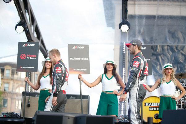 London, United Kingdom.  Wednesday 12 July 2017. Kevin Magnussen, Haas F1, and Romain Grosjean, Haas F1. World Copyright: Joe Portlock/LAT Images  ref: Digital Image _L5R8665
