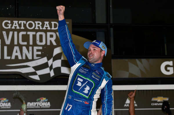 Monster Energy NASCAR Cup Series Coke Zero 400 Daytona International Speedway, Daytona Beach, FL USA Saturday 1 July 2017 Ricky Stenhouse Jr, Roush Fenway Racing, Fifth Third Bank Ford Fusion celebrates his win World Copyright: Nigel Kinrade LAT Images