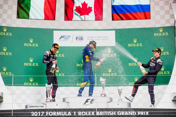 2017 FIA Formula 2 Round 6. Silverstone, Northamptonshire, UK. Sunday 16 July 2017. Luca Ghiotto (ITA, RUSSIAN TIME), Nicholas Latifi (CAN, DAMS), Artem Markelov (RUS, RUSSIAN TIME).  Photo: Zak Mauger/FIA Formula 2. ref: Digital Image _56I0797