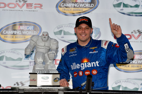 NASCAR Camping World Truck Series Bar Harbor 200 Dover International Speedway, Dover, DE USA Friday 2 June 2017 Johnny Sauter, Allegiant Airlines Chevrolet Silverado celebrates his win in Victory Lane World Copyright: Nigel Kinrade LAT Images ref: Digital Image 17DOV1nk06918
