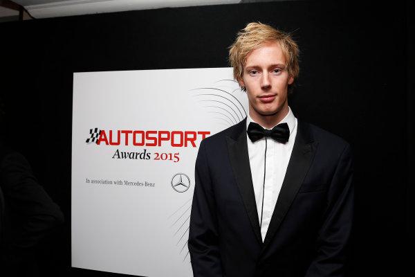 2015 Autosport Awards. Grosvenor House Hotel, Park Lane, London. Sunday 6 December 2015. Brendon Hartley. World Copyright: Adam Warner/LAT Photographic. ref: Digital Image _L5R8984