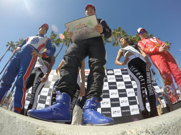 15-17 April, 2016, Long Beach, California USA 22 Simon Pagenaud, 9 Scott Dixon and 3 Helio Castroneves on the victory podium ?2016, Lesley Ann Miller LAT Photo USA