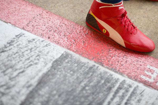 2016 Barcelona Testing. Circuit de Catalunya, Barcelona, Spain. Thursday 21st April. Antonio Fuoco (ITA, Trident) race boots.  World Copyright: Alastair Staley/LAT Photographic. ref: Digital Image 585A7644