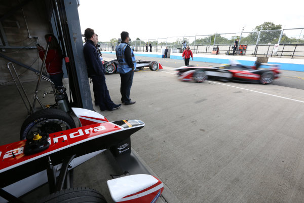 FIA Formula E Test Day, Donington Park, UK.  19th August 2014. Mahindra Racing. Photo: Malcolm Griffiths/FIA Formula E ref: Digital Image A50A6031