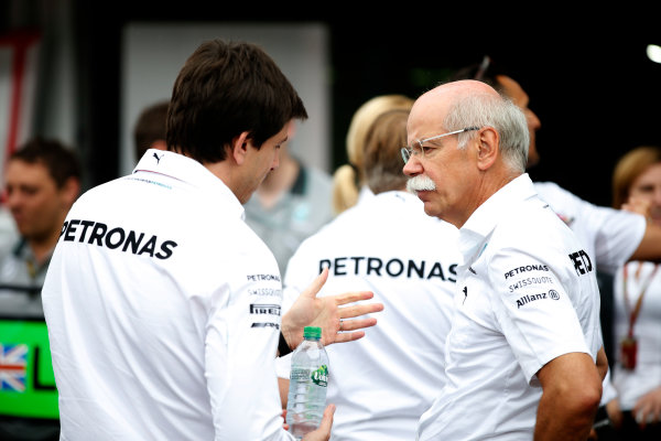 Hockenheimring, Hockenheim, Germany. Sunday 20 July 2014. Toto Wolff, Executive Director (Business), Mercedes AMG, and Dr Dieter Zetsche, CEO, Mercedes Benz. World Copyright: Glenn Dunbar/LAT Photographic. ref: Digital Image _W2Q9421