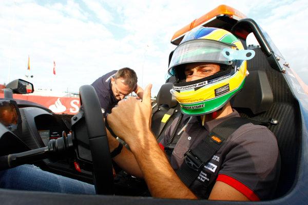 Hockenheimring, Hockenheim, Germany24th July 2010Bruno Senna, HRT F1 F110-02, gives a passenger ride in an X-Bow. Portrait. Helmets. Atmosphere.World Copyright: Charles Coates/LAT Photographicref: Digital Image _26Y4213