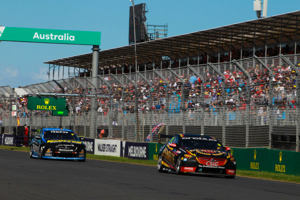 David Reynolds, Erebus Motorsport Holden, leads Nick Percat, Brad Jones Racing Holden.