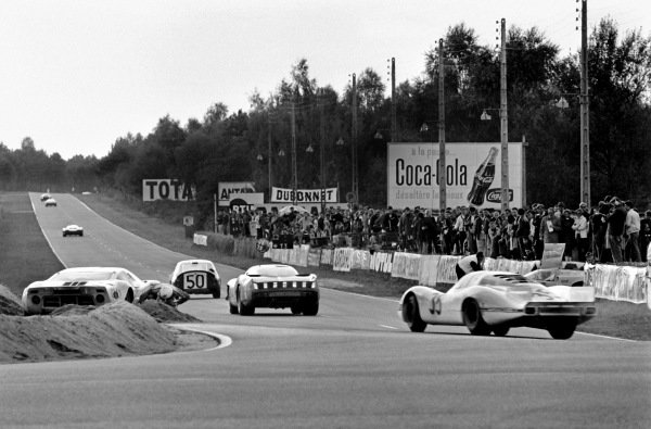 Le Mans, France. 28-29 September 1968. Brian Muir (pictured)/Jackie Oliver, (Ford GT40), retired, action. World Copyright: LAT Photographic Ref: B/W Print.