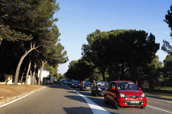 Traffic jams outside the circuit.