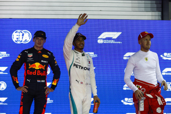 Top three Qualifiers Max Verstappen, Red Bull Racing, pole man Lewis Hamilton, Mercedes AMG F1, and Sebastian Vettel, Ferrari