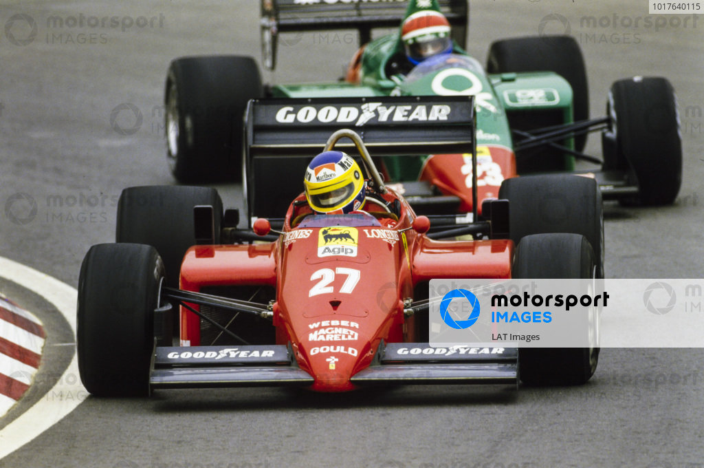 Michele Alboreto, Ferrari 156/85, leads Eddie Cheever, Alfa Romeo 185T.