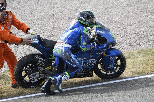 Enea Bastianini, Italtrans Racing Team after his crash.