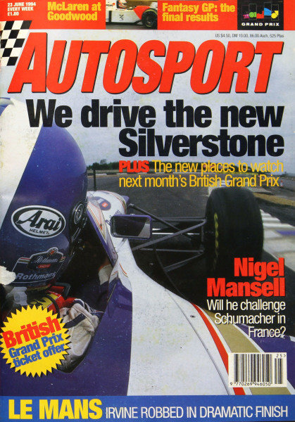 Cover of Autosport magazine, 23rd June 1994
