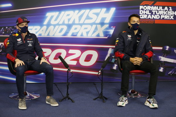Max Verstappen, Red Bull Racing and Alexander Albon, Red Bull Racing, in the press conference