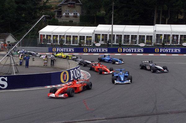 2001 Belgian Grand Prix - RaceSpa Francorchamps, Belgium. 2nd Spetember 2001.Michael Schumacher, Ferrari F2001, leads at the restart of the race.World Copyright: Steve Etherington/LAT Photographicref: 17 5mb Digital Image Only