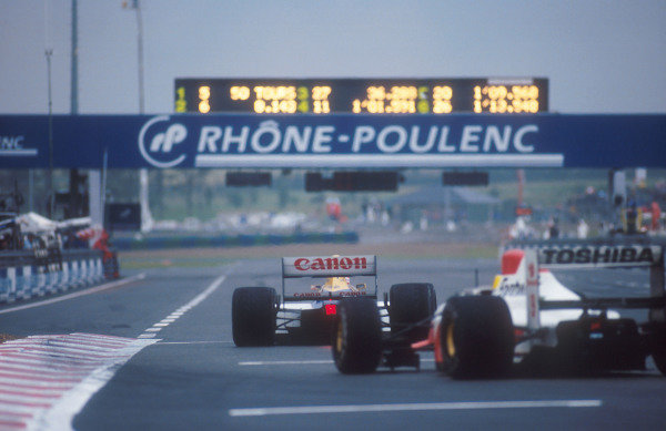 1992 French Grand Prix.Magny-Cours, France.3-5 June 1992.Nigel Mansell (Williams FW14B Renault) 1st position.Ref-92 FRA 15.World Copyright - LAT Photographic