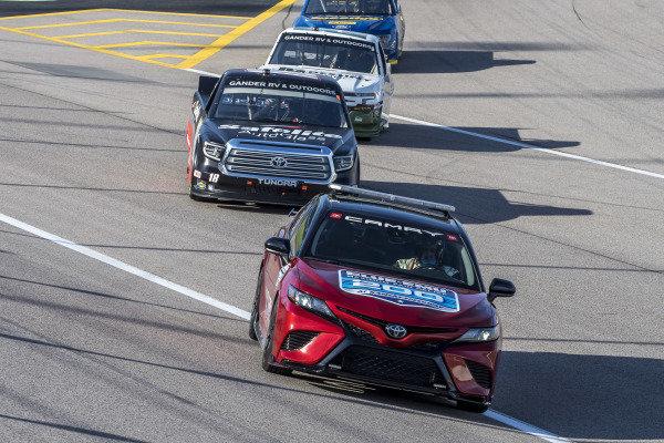 Toyota Camry TRD Pace Car leads #18: Christian Eckes, Kyle Busch Motorsports, Safelite AutoGlass Toyota Tundra
