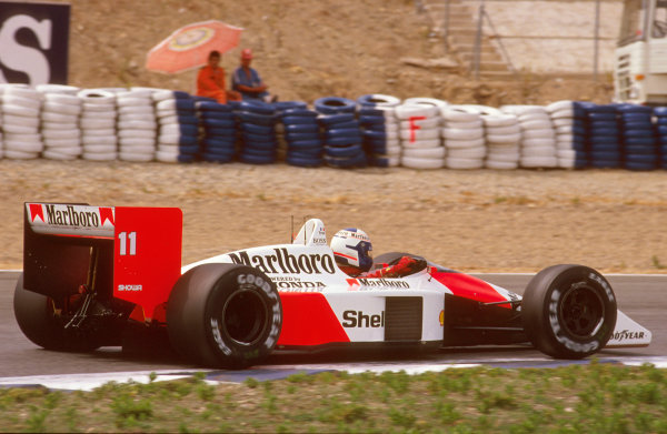 Jerez, Spain.30/9-2/10 1988.Alain Prost (McLaren MP4/4 Honda) 1st position.Ref-88 ESP 07.World Copyright - LAT Photographic