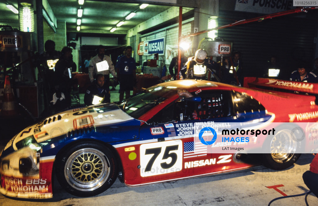 Steve Millen / Johnny O'Connell / John Morton, Clayton Cunningham Racing Inc, Nissan 300 ZX Turbo, makes a pitstop during the night.