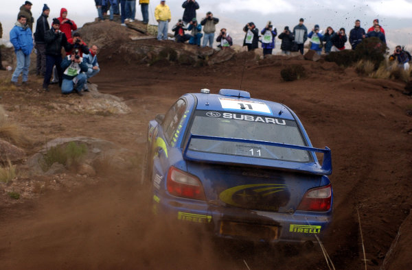 World Rally Championship, Rally of Argentina, May 16-19, 2002.Petter Solberg throughs his Impreza WRC around a corner on stage 20.Photo: Ralph Hardwick/LAT
