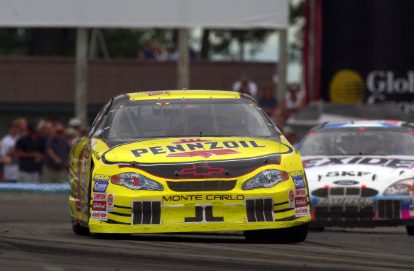 "Steve Park leads eventual 3rd place finisher Jeff Burton through the ""Inner Loop"" chicane.NASCAR Global Crossing at the Glen, Watkins Glen International, Watkins Glen,NY,USA 13 August,2000-F Peirce Williams 2000 LAT PHOTOGRAPHIC"