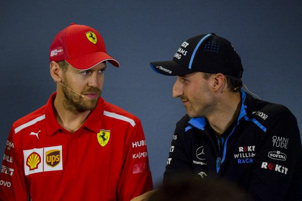 Sebastian Vettel, Ferrari and Robert Kubica, Williams Racing in Press Conference
