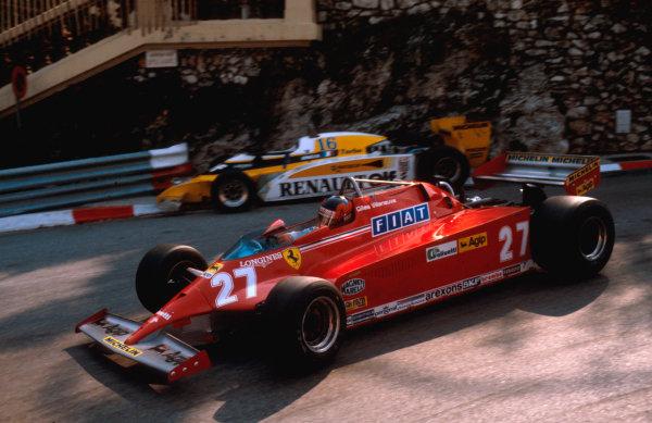 1981 Monaco Grand Prix. Monte Carlo, Monaco. 28-31 May 1981. Gilles Villeneuve (Ferrari 126CK) 1st position at Loews Hairpin. Ref-81MON55. World Copyright - LAT Photographic