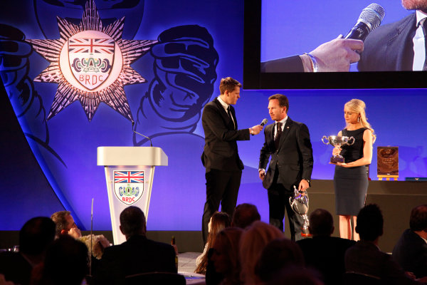 2014 BRDC Annual Awards The Grand Connaught Rooms, London, UK Monday 8 December 2014. Christian Horner on stage with Jake Humphrey. World Copyright: Ebrey/LAT Photographic. ref: Digital Image Horner-01